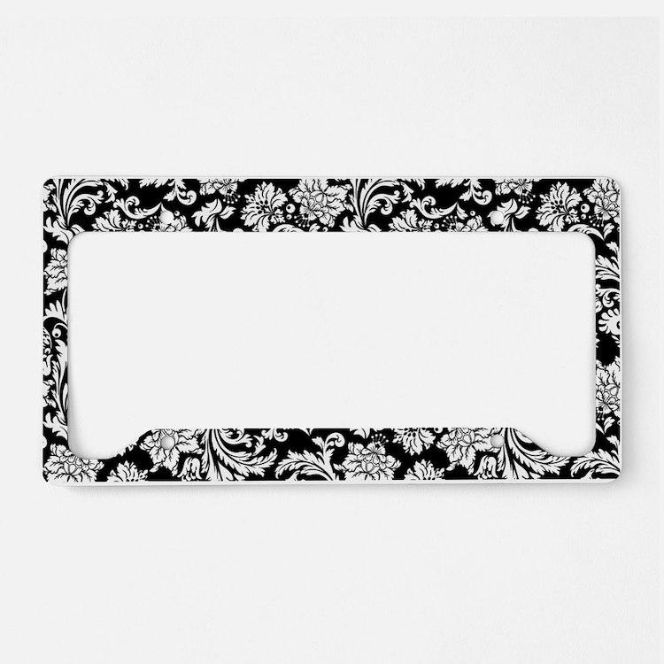 White on Black Damask License Plate Holder