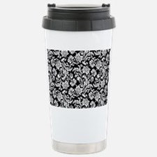 White on Black Damask Stainless Steel Travel Mug