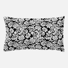 White on Black Damask Pillow Case