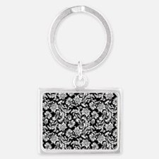 White on Black Damask Landscape Keychain