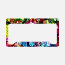 Retro Colorful Flowers License Plate Holder