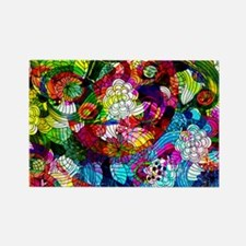 Retro Colorful Flowers Rectangle Magnet