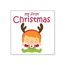 "Reindeer Girl 1st Christmas Square Sticker 3"" x 3"""
