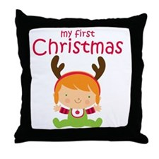 Reindeer Girl 1st Christmas Throw Pillow