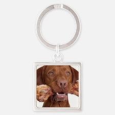 dog with bone Square Keychain