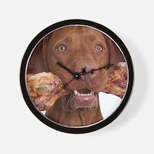 dog with bone Wall Clock