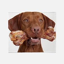 dog with bone Throw Blanket