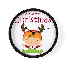 Reindeer Boy 1st Christmas Wall Clock