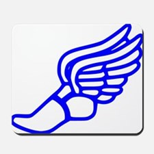 Blue Running Shoe With Wings Mousepad