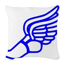 Blue Running Shoe With Wings Woven Throw Pillow