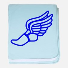 Blue Running Shoe With Wings baby blanket