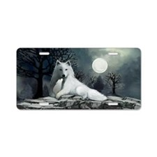 White Wolf with Pup Aluminum License Plate