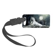 White Wolf with Pup Luggage Tag