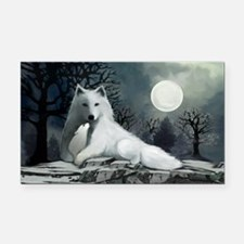 White Wolf with Pup Rectangle Car Magnet