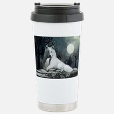 White Wolf with Pup Stainless Steel Travel Mug