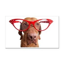 dog with oversize glasses Rectangle Car Magnet
