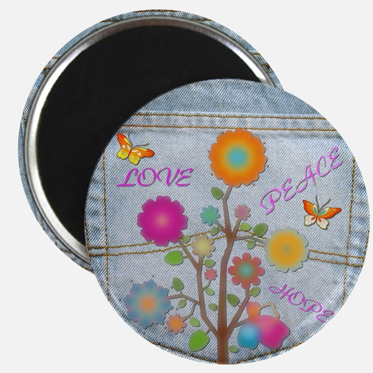 Denim Pocket Peace Love Hope Magnet