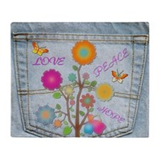 Denim Pocket Peace Love Hope Throw Blanket