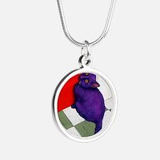 Purple Cat Red Door Silver Round Necklace