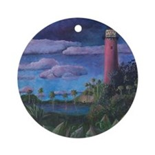 Jupiter Lighthouse Round Ornament