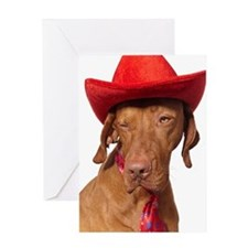 Christmas cowboy dog Greeting Card