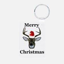 xmas deer front Aluminum Photo Keychain