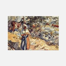 Carl Larsson - Cowgirl in the Mea Rectangle Magnet
