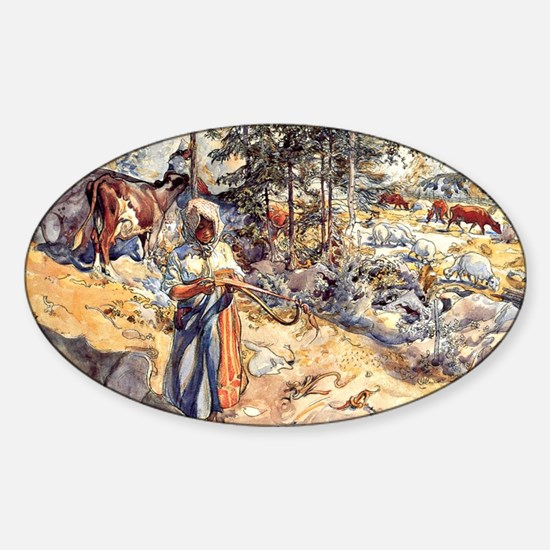 Carl Larsson - Cowgirl in the Meado Sticker (Oval)