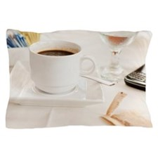 Close up of coffee cup and pda on tabl Pillow Case