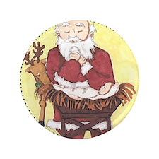 "Santa & Baby Jesus 3.5"" Button"