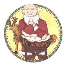 Santa & Baby Jesus Round Car Magnet