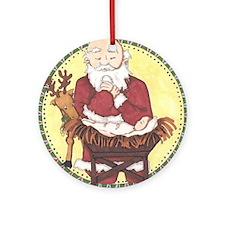 Santa & Baby Jesus Round Ornament