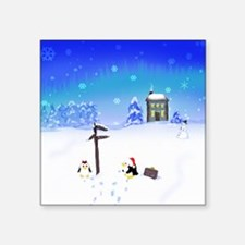 "Penguins Meet Santa! Square Sticker 3"" x 3"""