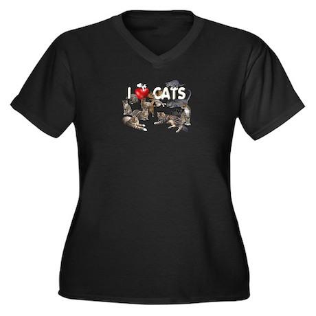 Women's Plus Size V-Neck Dark T-Shirt I love Cats