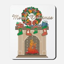 Christmas Firehouse Greeting Mousepad