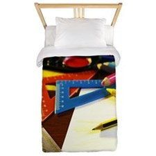 School books with paint & other objects Twin Duvet