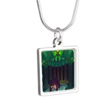 Fae Bear of WIsdom Silver Square Necklace