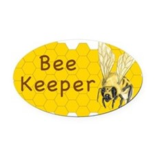 Bee Keeper Sticker Oval Car Magnet