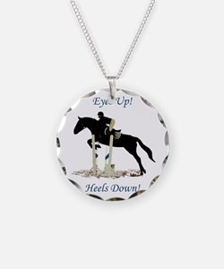 Eyes Up! Heels Down! Horse Necklace Circle Charm