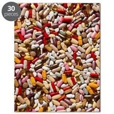 Background of colorful multi-vitamin pills, Puzzle