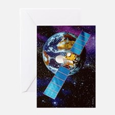 Artwork of a communication satellite Greeting Card
