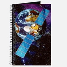 Artwork of a communication satellite over  Journal