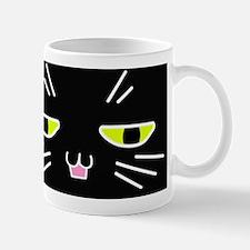 Black Cat Happy Face Mug