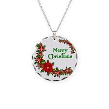 Christmas poinsettias Necklace Circle Charm