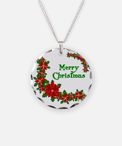 Christmas poinsettias Necklace Circle Charm