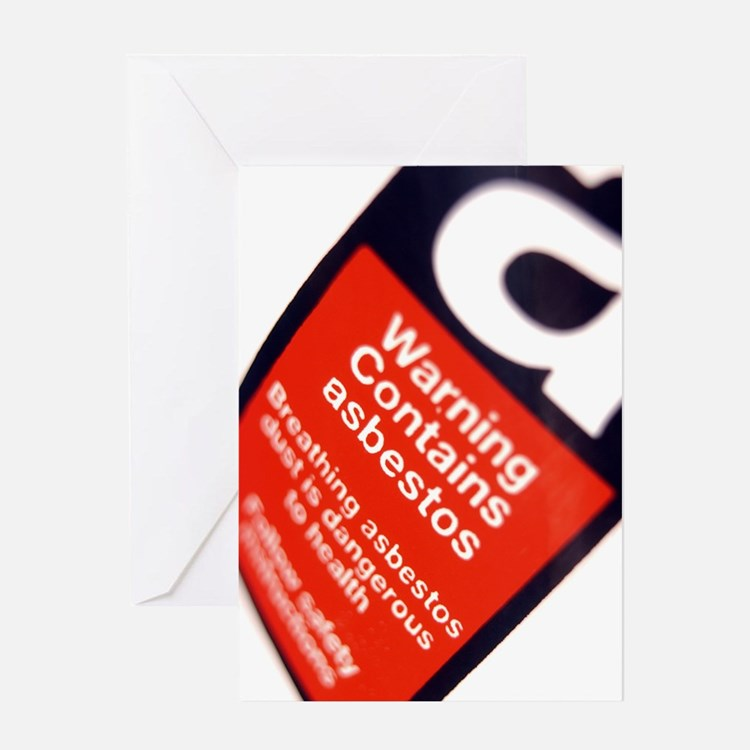 Asbestos warning sign Greeting Card