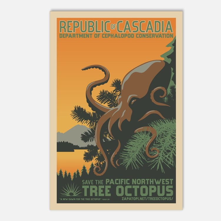 Tree Octopus WPA-Style Postcards (8)