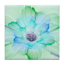 January Fractal Flower Tile Coaster