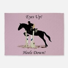 Eyes Up! Heels Down! Horse 5'x7'Area Rug
