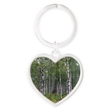 Birches Heart Keychain